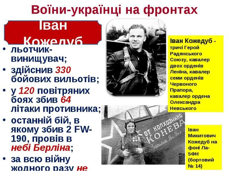 Воїни-українці на фронтах льотчик-винищувач; здійснив 330 бойових вильотів; у...