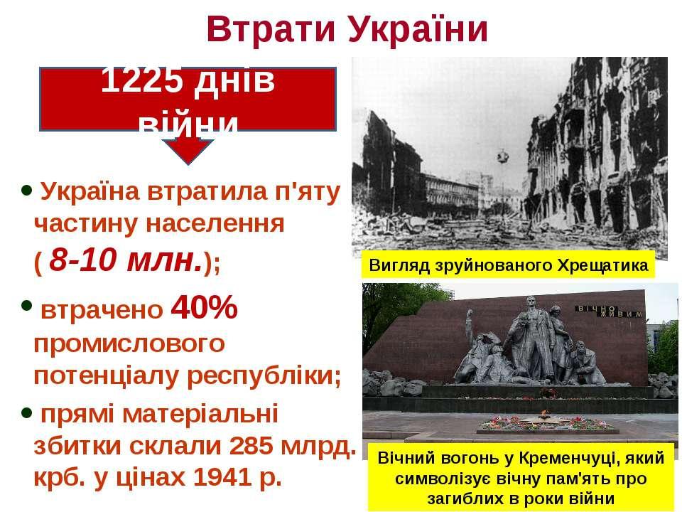 Втрати України Україна втратила п'яту частину населення ( 8-10 млн.); втрачен...