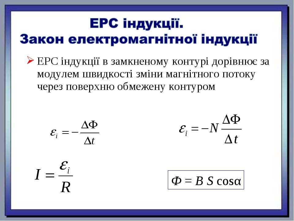 ЕРС індукції в замкненому контурі дорівнює за модулем швидкості зміни магнітн...