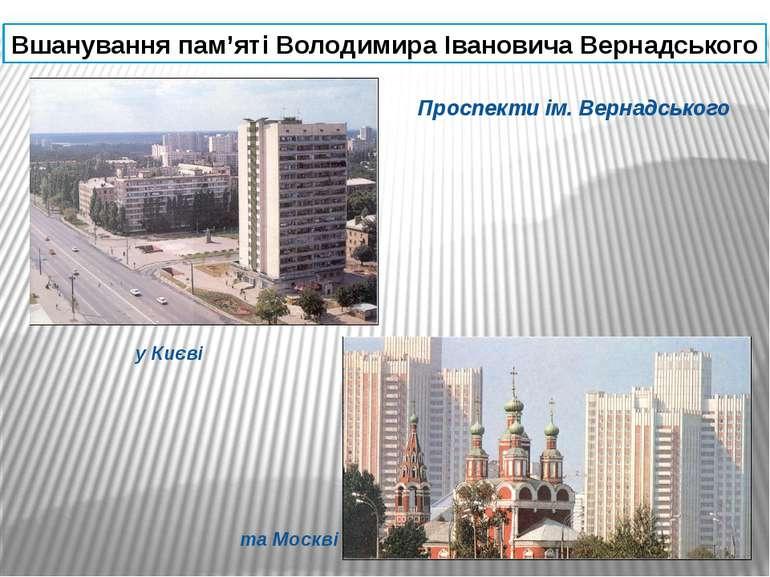 Вшанування пам'яті Володимира Івановича Вернадського Проспекти ім. Вернадсько...