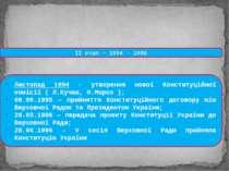 ІІ етап – 1994 - 1996 Листопад 1994 - утворення нової Конституційної комісії ...