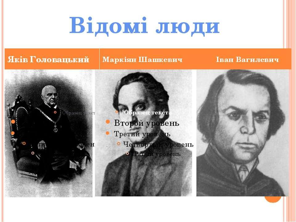 Яків Головацький Маркіян Шашкевич Іван Вагилевич Відомі люди