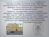 Сучасний науковий комплекс країни складається з науково-дослідних інститутів,...