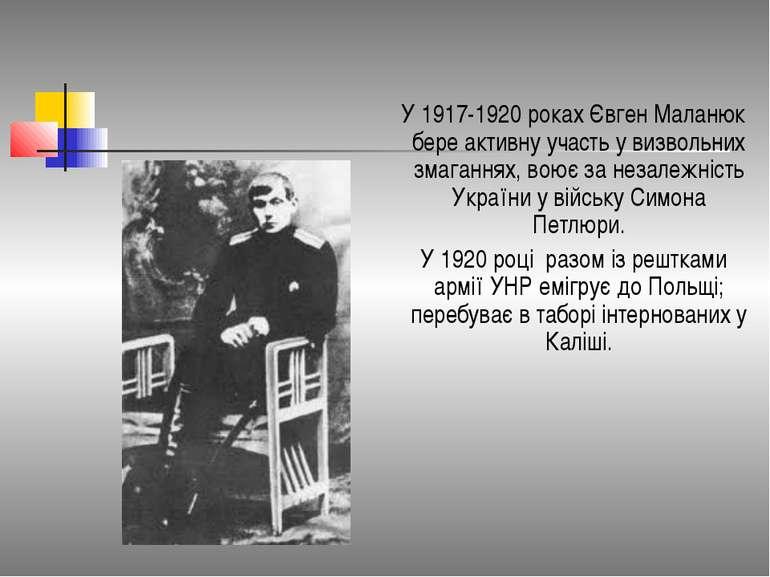 У 1917-1920 роках Євген Маланюк бере активну участь у визвольних змаганнях, в...