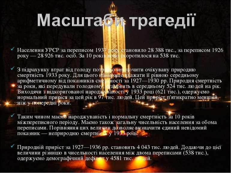 Населення УРСР за переписом 1937 року становило 28 388 тис., за переписом 192...