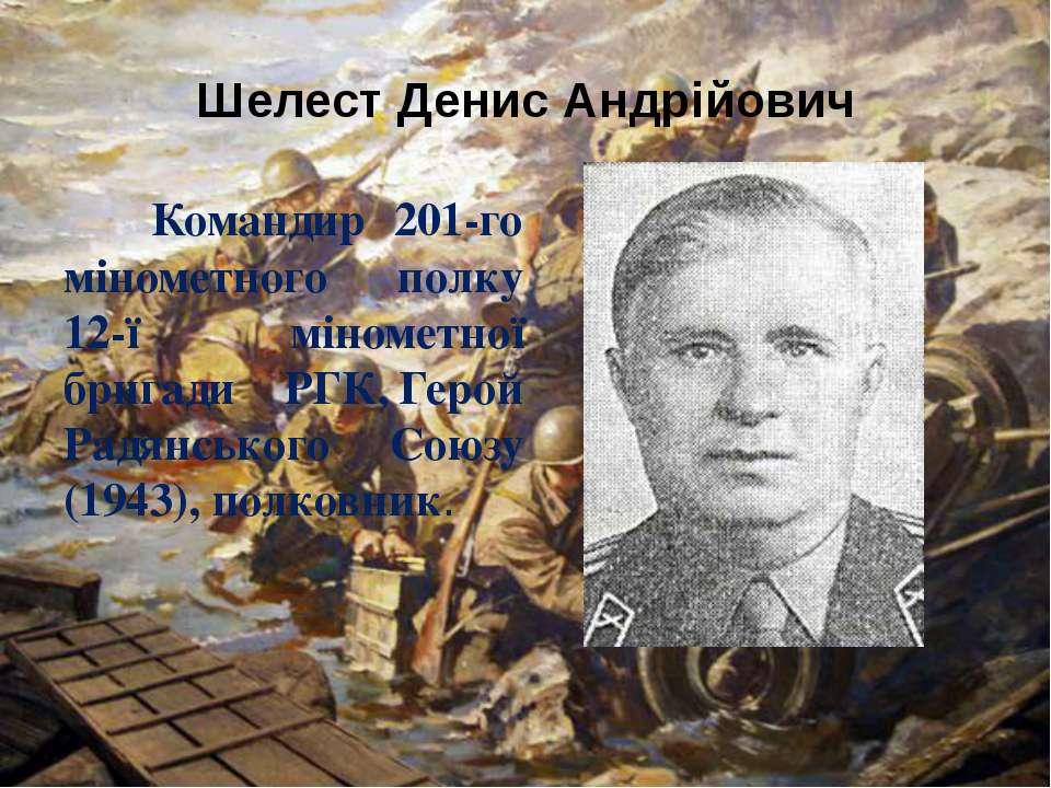 Шелест Денис Андрійович Командир 201-го мінометного полку 12-ї мінометної бри...