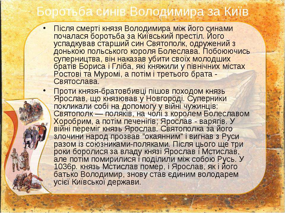 Боротьба синів Володимира за Київ Після смерті князя Володимира між його сина...