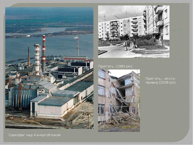 Саркофаг над 4 енергоблоком Прип'ять (1985 рік) Прип'ять – міісто-привид (200...