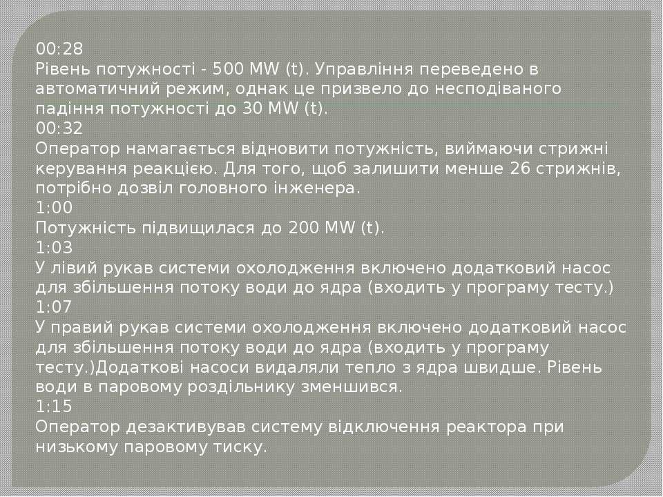 00:28 Рівень потужності - 500 MW (t). Управління переведено в автоматичний ре...