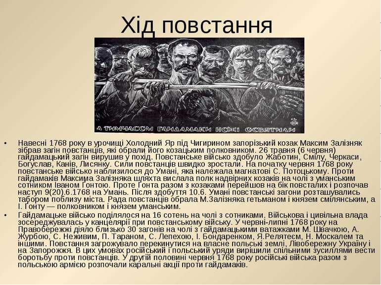 Хід повстання Навесні 1768 року в урочищі Холодний Яр під Чигирином запорізьк...