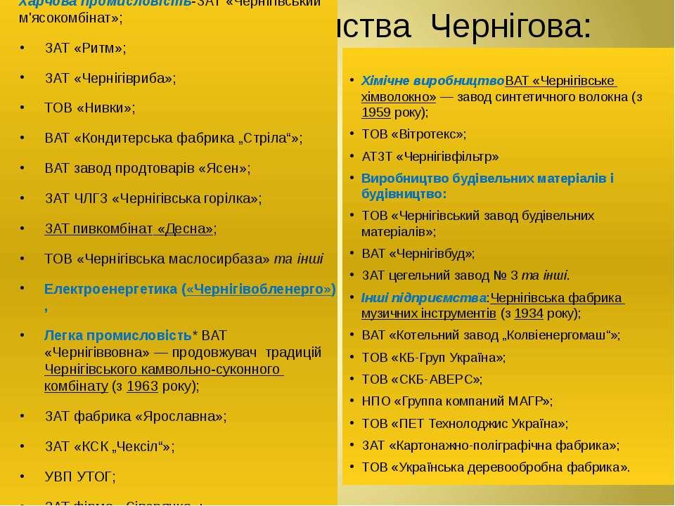 Основні підприємства Чернігова: Харчова промисловість-ЗАТ «Чернігівський м'яс...