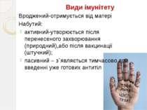Види імунітету Вроджений-отримується від матері Набутий: активний-утворюється...