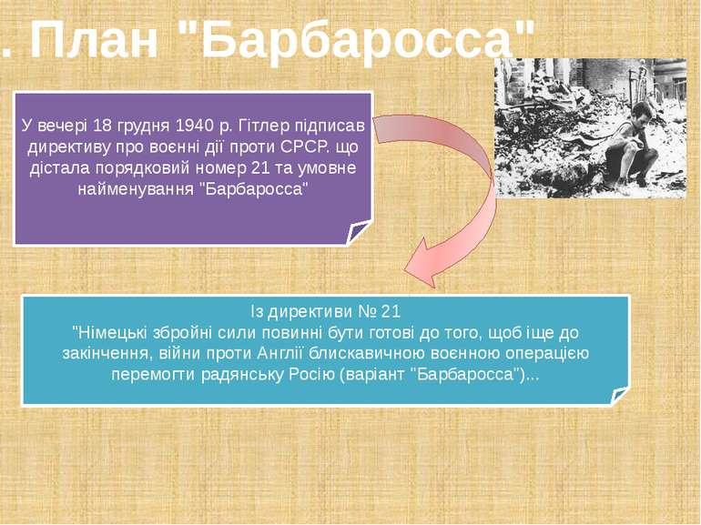 """1. План """"Барбаросса"""" У вечері 18 грудня 1940 р. Гітлер підписав директиву про..."""