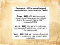 Починаючи з 1929 р. масові репресії трьома хвилями прокотилися по Україні: Пе...