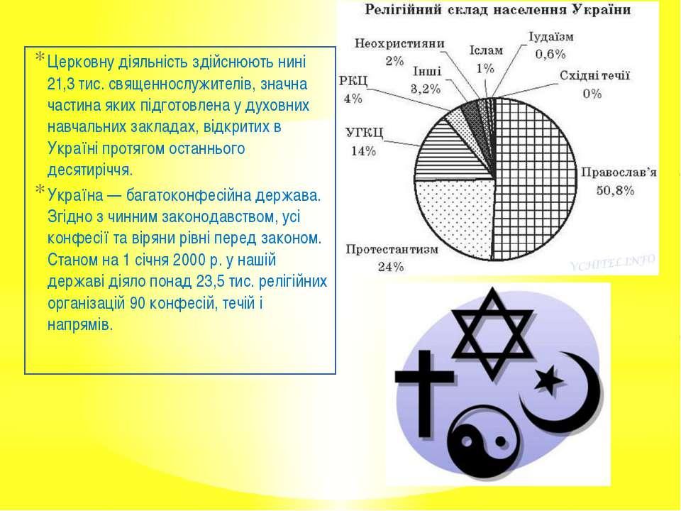 Церковну діяльність здійснюють нині 21,3 тис. священнослужителів, значна част...