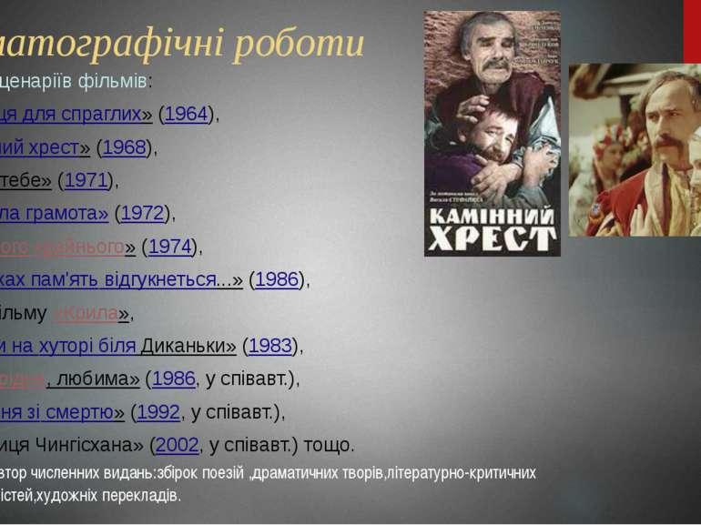 Кінематографічні роботи Автор сценаріїв фільмів: «Криниця для спраглих»(1964...