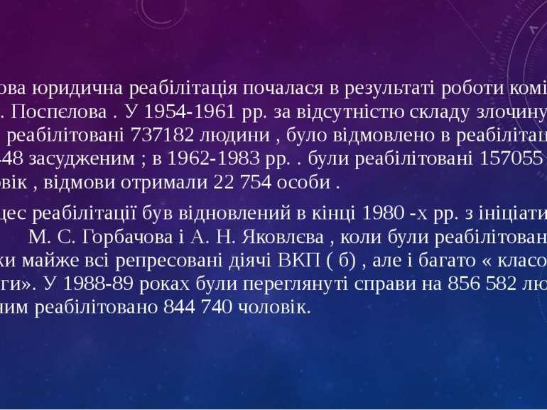 Масова юридична реабілітація почалася в результаті роботи комісії П. Н. Поспє...