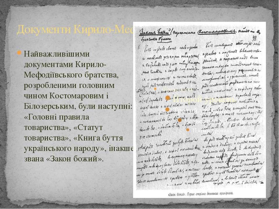 Документи Кирило-Мефодіївського братства Найважливішими документами Кирило-Ме...