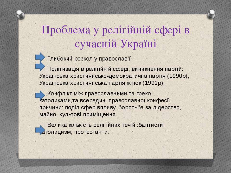 Проблема у релігійній сфері в сучасній Україні Глибокий розкол у православ'ї ...