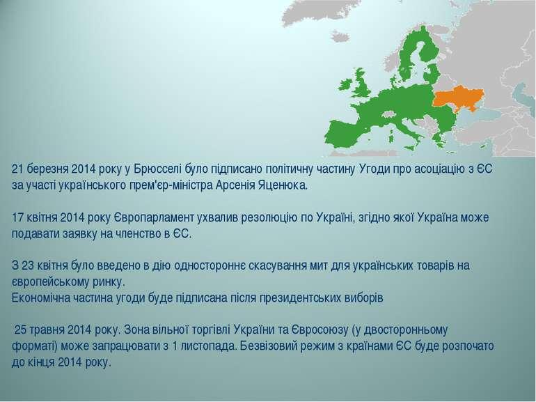 21 березня 2014 року у Брюсселі було підписано політичну частину Угоди про ас...