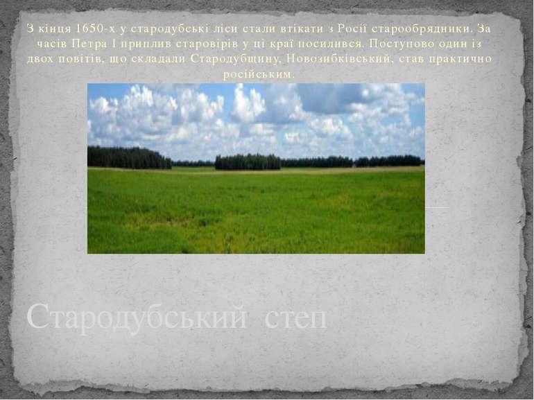 З кінця 1650-х у стародубські ліси стали втікати з Росії старообрядники. За ч...