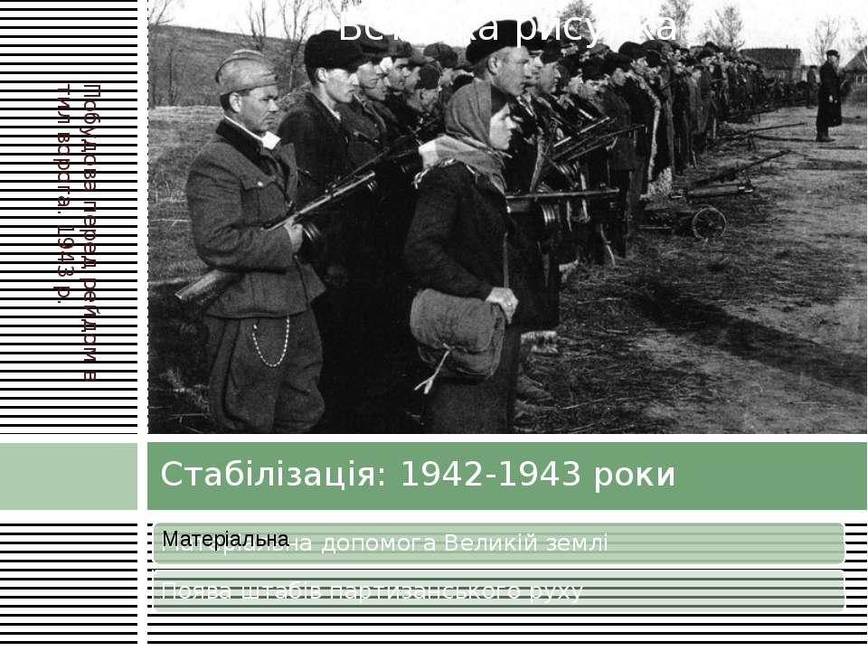 Стабілізація: 1942-1943 роки Побудова перед рейдом в тил ворога. 1943 р.
