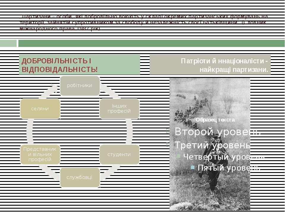 """""""Партизани – особи, які добровільно воюють у складі окремих партизанських фор..."""