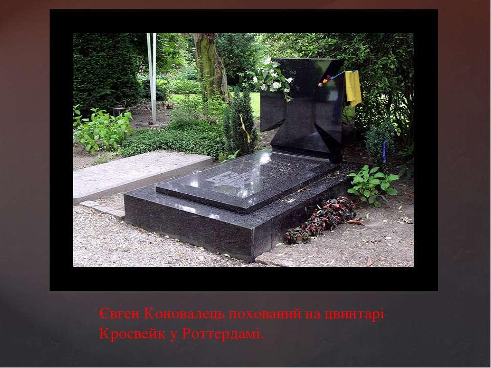Євген Коновалець похований на цвинтарі Кросвейк у Роттердамі.