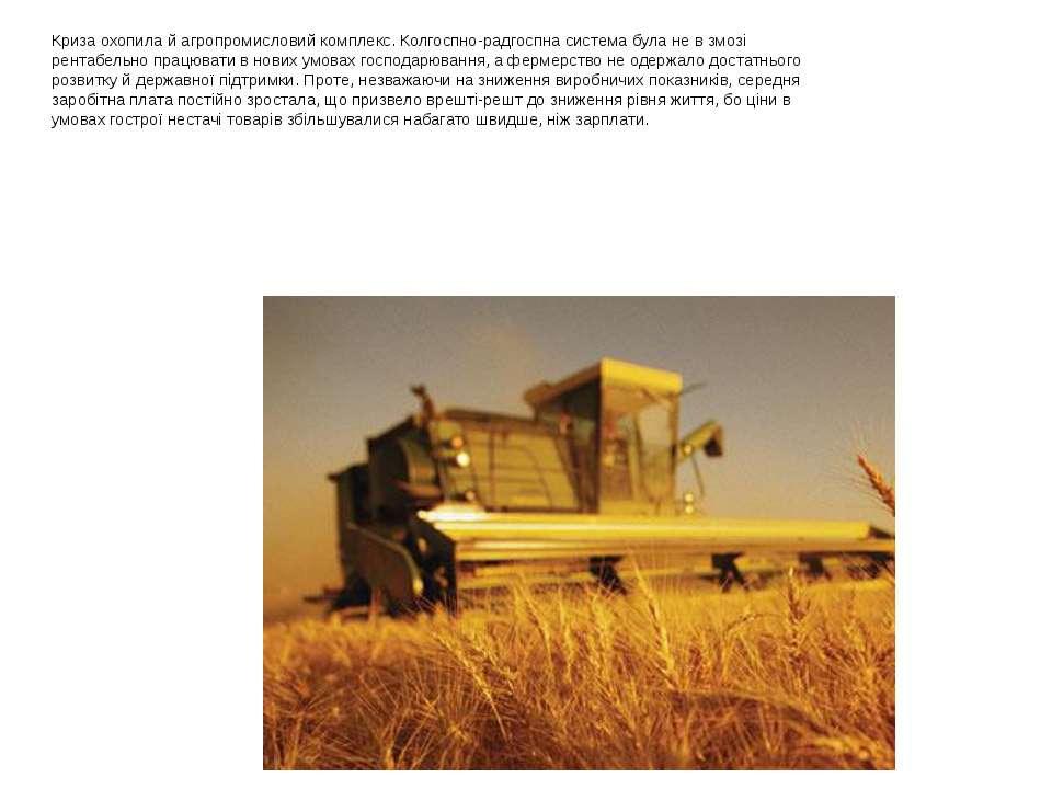 Криза охопила й агропромисловий комплекс. Колгоспно-радгоспна система була не...
