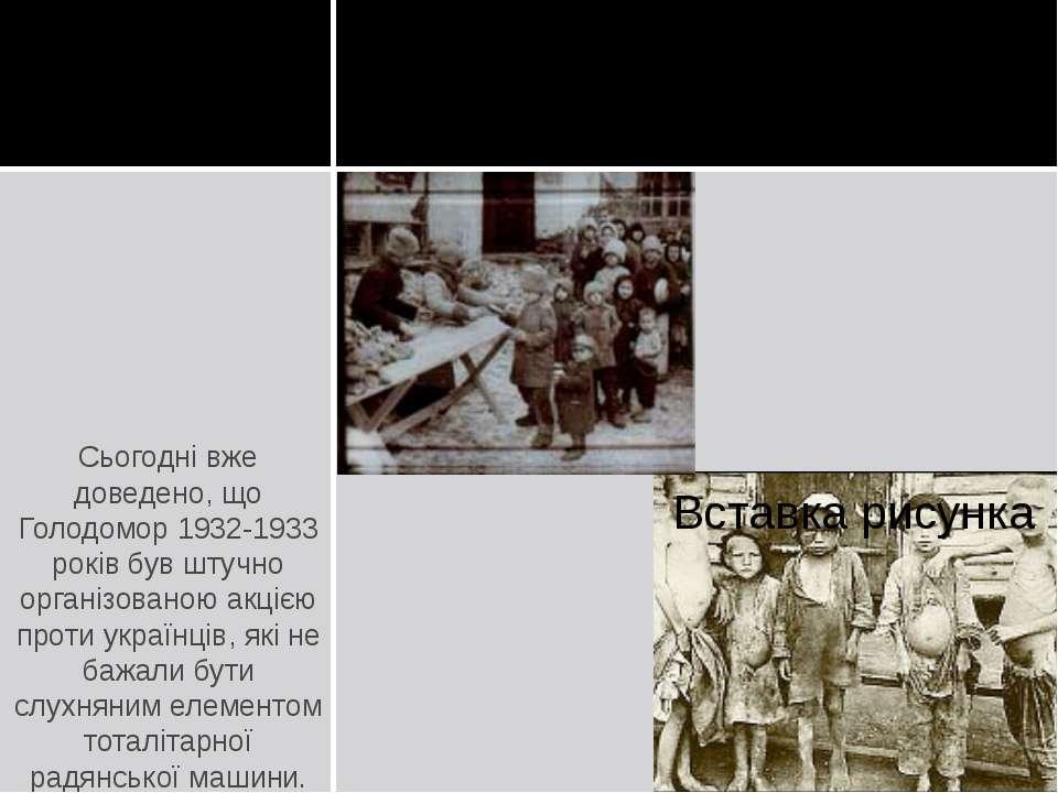 Сьогодні вже доведено, що Голодомор 1932-1933 років був штучно організованою ...