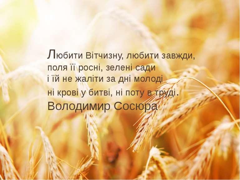 Любити Вітчизну, любити завжди, поля її росні, зелені сади і їй не жаліти за ...
