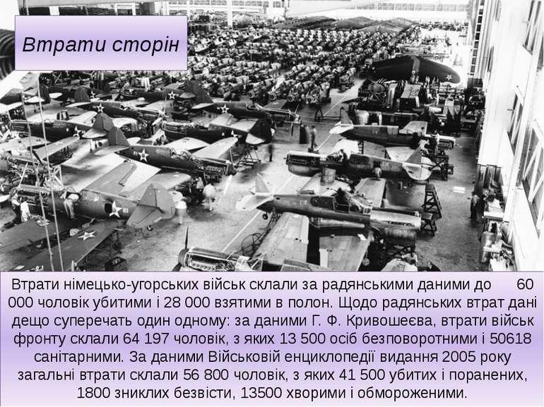 Втрати сторін Втрати німецько-угорських військ склали за радянськими даними д...
