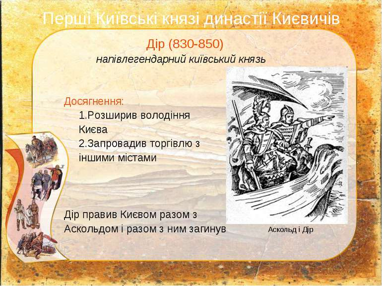 Перші Київські князі династії Києвичів Дір (830-850) напівлегендарний київськ...