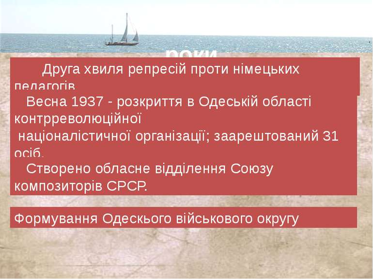 1937-1939 роки Друга хвиля репресій проти німецьких педагогів. Весна 1937 - р...
