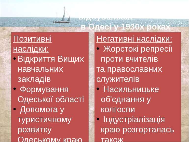 Значення подій відбувшихся в Одесі у 1930х роках Позитивні наслідки: Відкритт...