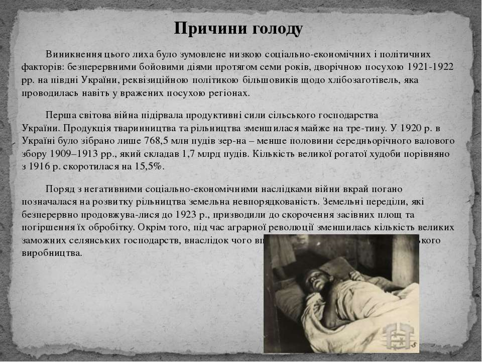 Причини голоду Виникнення цього лиха було зумовлене низкою соціально-економіч...
