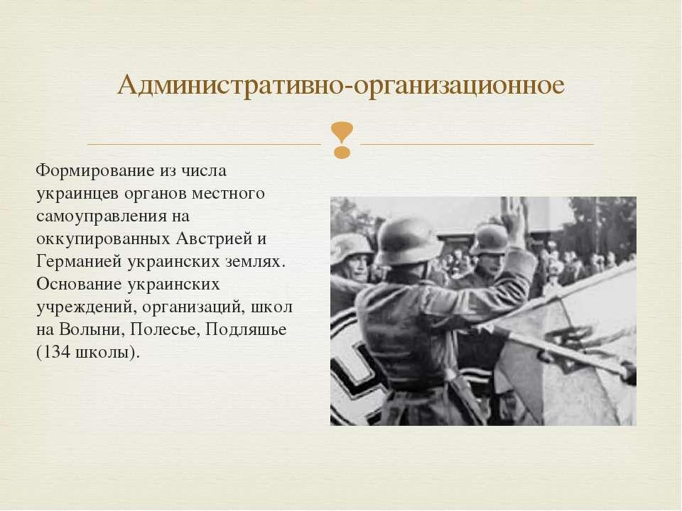 Формирование из числа украинцев органов местного самоуправления на оккупирова...
