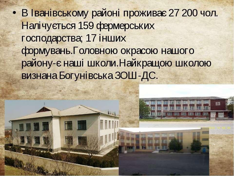 В Іванівському районі проживає 27 200 чол. Налічується 159 фермерських господ...