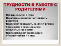 Неблагополучие в семье Педагогическая несостоятельность родителей Нежелание п...