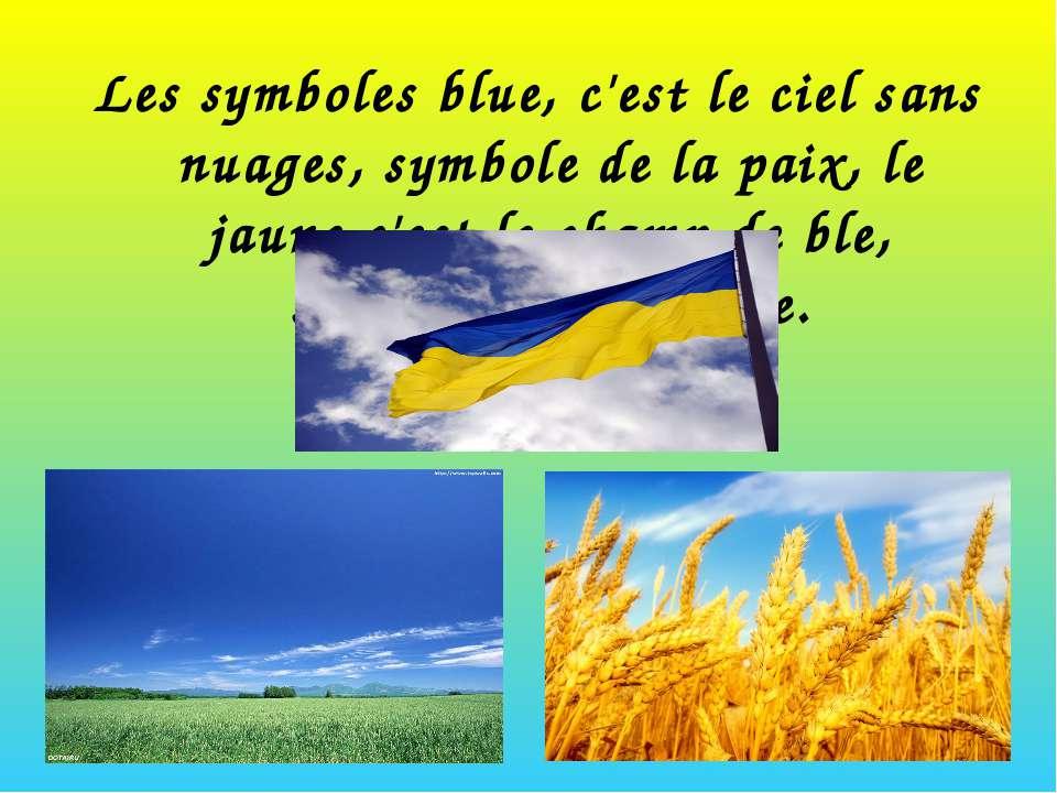 Les symboles blue, c'est le ciel sans nuages, symbole de la paix, le jaune c'...