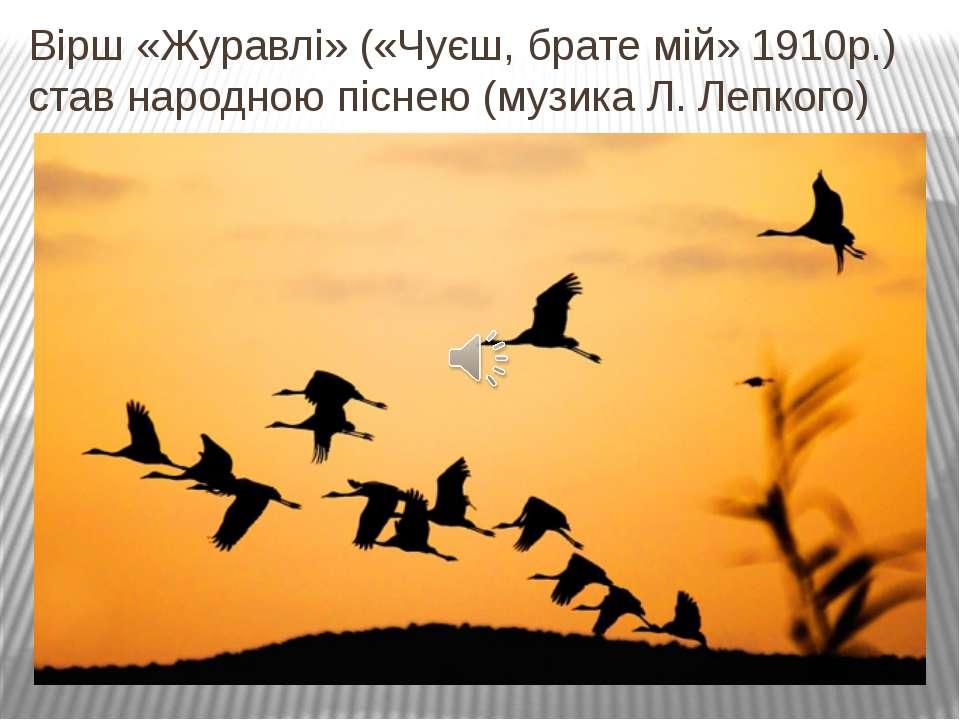 Вірш «Журавлі» («Чуєш, брате мій» 1910р.) став народною піснею (музика Л. Леп...