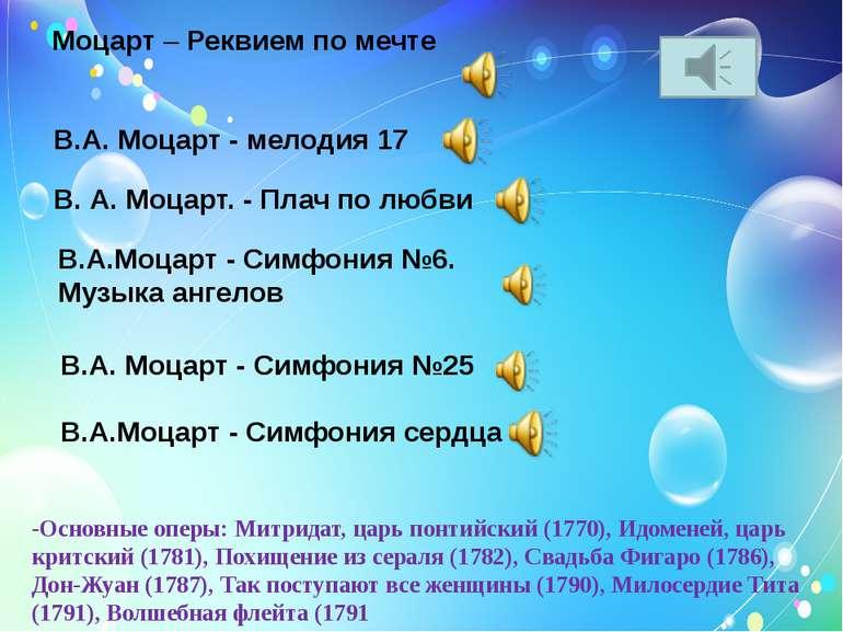 Моцарт–Реквием по мечте В.А. Моцарт - мелодия 17 В. А. Моцарт. - Плач по лю...