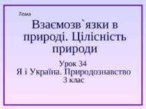Взаємозв`язки в природі. Цілісність природи Тема Урок 34 Я і Україна. Природо...