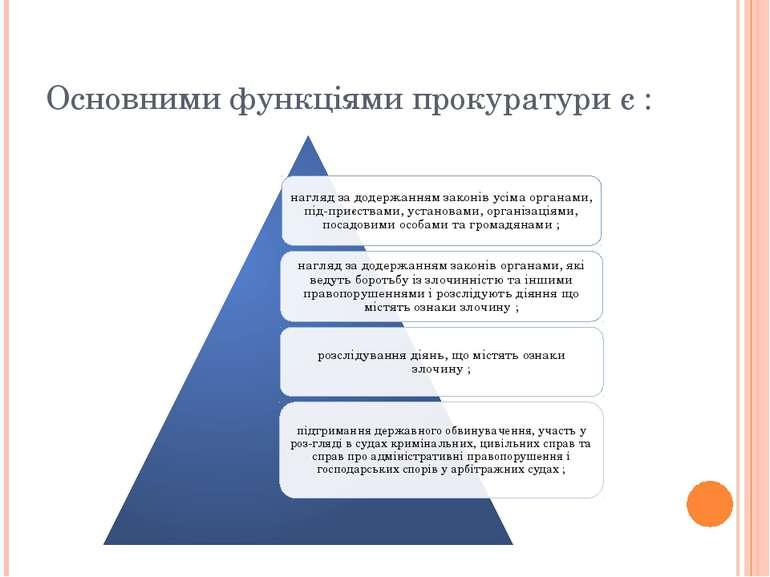 Основними функціями прокуратури є :
