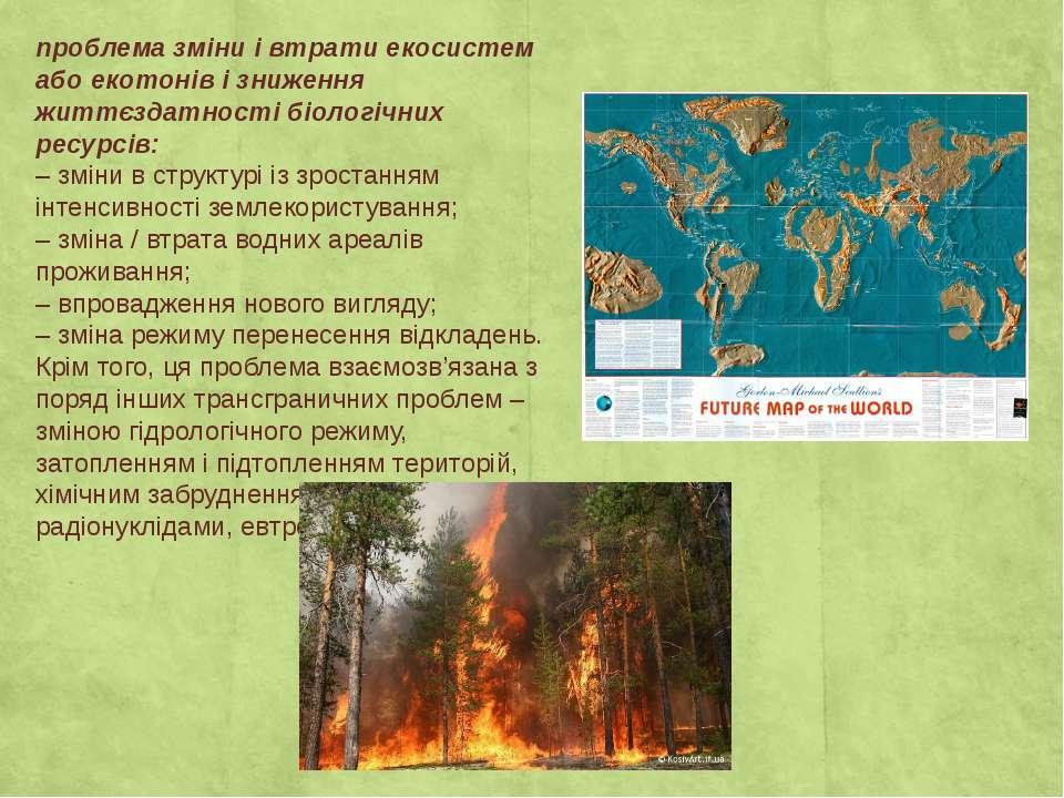 проблема зміни і втрати екосистем або екотонів і зниження життєздатності біол...