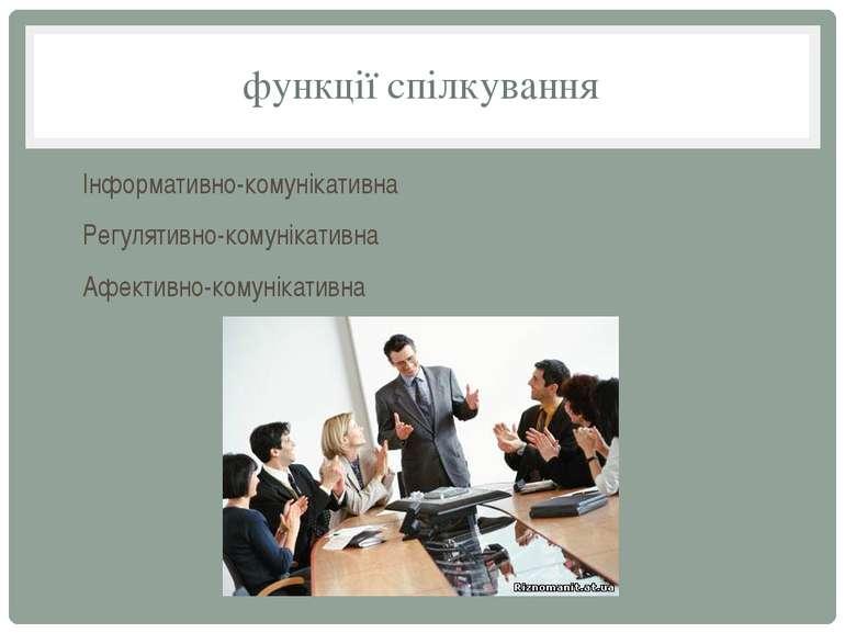 функції спілкування Інформативно-комунікативна Регулятивно-комунікативна Афек...