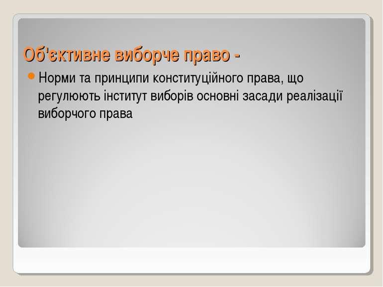 Об'єктивне виборче право - Норми та принципи конституційного права, що регулю...