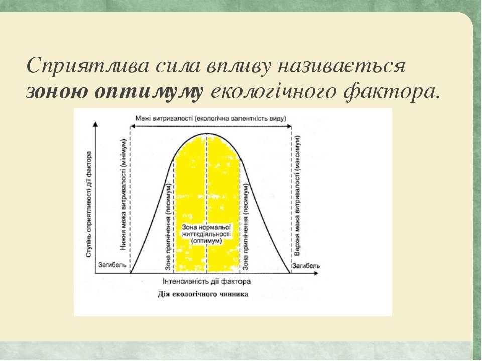 Сприятлива сила впливу називається зоною оптимуму екологічного фактора.
