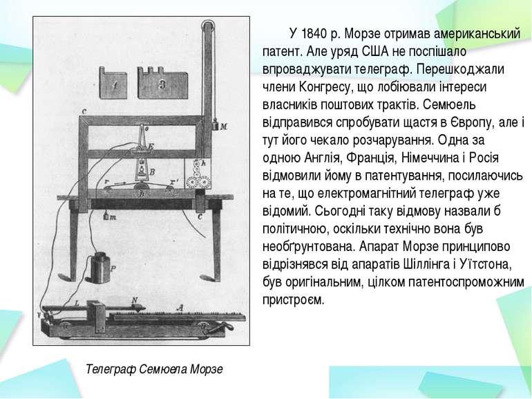 У 1840 р. Морзе отримав американський патент. Але уряд США не поспішало впров...