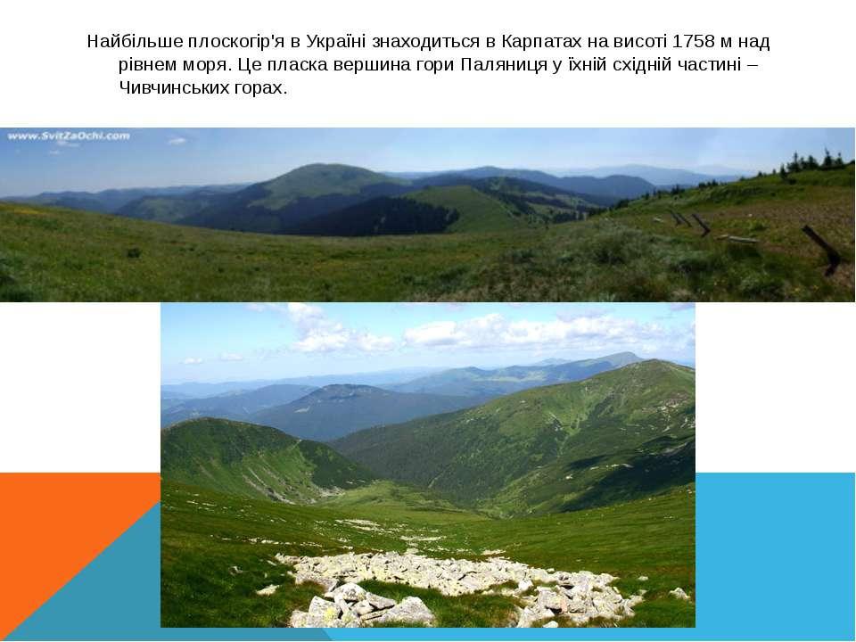 Найбільше плоскогір'я в Україні знаходиться в Карпатах на висоті 1758м над р...